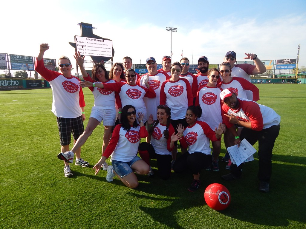 "Employees with Trendmaker Homes became the ""Slim Kickins"" during the Sugar Land Skeeters Kickball Classic. More than a dozen teams participated in the new annual event."