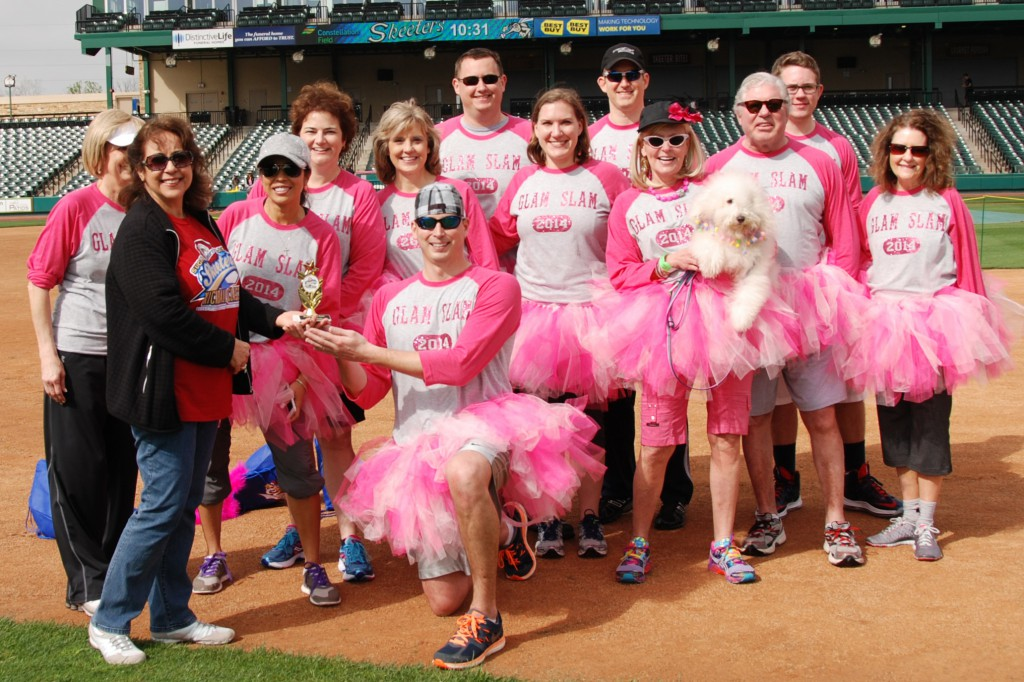 Taking top costume honors at the inaugural Sugar Land Skeeters Kickball Classic were members of The Johnson Development Corp.'s Glam Slam team. The event raised nearly $11,300 for local disadvantaged youth.