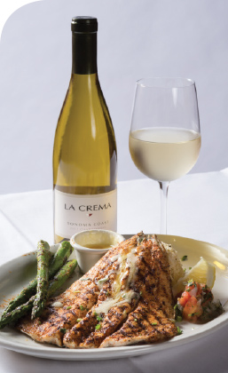 Texas Mesquite Grill Salmon and wine.